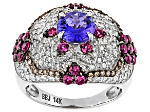 Blue Tanzanite, Raspberry Color Rhodolite & White & Champagne Diamond 14k White Gold Ring 3.50ctw