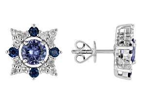 Blue Tanzanite, Blue Sapphire & White Diamond 14k White Gold Jacket Stud Earrings 1.44ctw