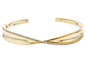 White Diamond 14k Yellow Gold Cuff Bracelet 0.75ctw