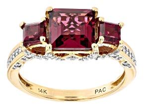 Rhodolite Garnet And White Diamond 14k Yellow Gold 3-Stone Ring 3.85ctw