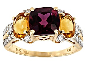 Rhodolite Garnet, Orange Citrine And White Diamond 14k Yellow Gold 3-Stone Ring 4.15ctw
