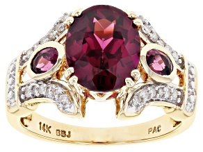 Raspberry Color Rhodolite And White Diamond 14k Yellow Gold Center Design Ring 3.23ctw