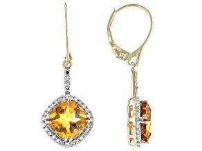 Brazilian Citrine And White Diamond 14k Yellow Gold Dangle Earrings 3.85ctw