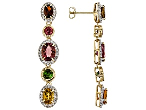 Multi-Color Tourmaline And White Diamond 14k Yellow Gold Dangle Earrings 6.00ctw