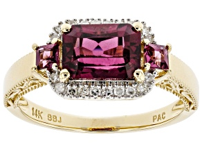 Rhodolite Garnet And White Diamond 14k Yellow Gold Halo Ring 1.89ctw