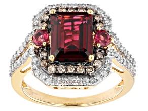 Garnet & Raspberry Color Rhodolite With White & Champagne Diamond 14k Yellow Gold Ring 3.48ctw