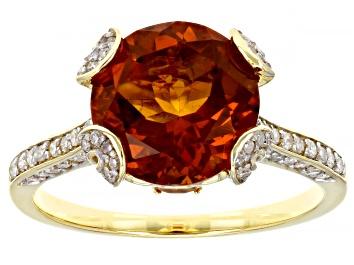 Picture of Madeira Citrine, Yellow Brazilian Citrine & White Diamond 14k Yellow Gold Center Design Ring 3.43ctw