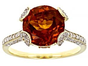 Madeira Citrine, Yellow Brazilian Citrine & White Diamond 14k Yellow Gold Center Design Ring 3.43ctw