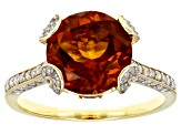 Madeira Citrine, Yellow Brazilian Citrine & White Diamond 14k Yellow Gold Center Design Ring 3.43ctw