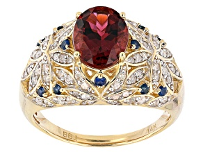 Pink Tourmaline, Blue Sapphire And White Diamond 14k Yellow Gold Dome Ring 1.83ctw