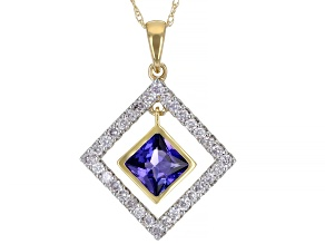 "Blue Tanzanite And White Diamond 14k Yellow Gold Dangle Pendant With 18"" Singapore Chain 1.22ctw"