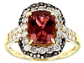 Pink Tourmaline With White And Champagne Diamond 14k Yellow Gold Halo Ring 3.34ctw