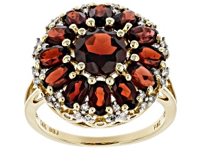 Red Garnet And White Diamond 14k Yellow Gold Cluster Ring 4.79ctw