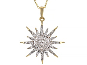 White Diamond 14k Yellow Gold Celestial Pendant With 18