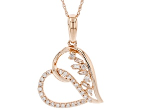 "White Diamond 14k Rose Gold Heart Pendant With 18"" Rope Chain 0.20ctw"