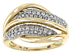 White Diamond 14k Yellow Gold Bypass Ring 0.75ctw