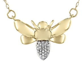 White Diamond Accent 14k Yellow Gold Bee Necklace