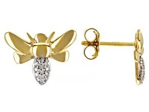 White Diamond Accent 14k Yellow Gold Bee Stud Earrings
