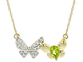 Green Peridot & White Diamond 14k Yellow Gold Butterfly Necklace 0.37ctw
