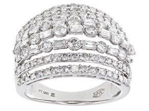 White Diamond Platinum Wide Band Ring 2.00ctw