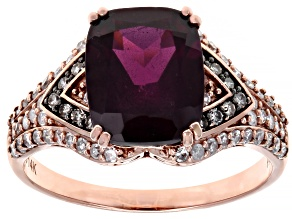 Rhodolite Garnet With Champagne & White Diamond 14K Rose Gold Center Design Ring 3.48ctw