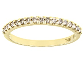 Champagne Diamond 14k Yellow Gold Band Ring 0.25ctw