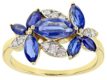 Picture of Blue Kyanite And White Diamond 14k Yellow Gold  Floral Ring 2.30ctw