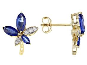 Blue Kyanite And White Diamond 14k Yellow Gold Cluster Flower Earrings 1.81ctw