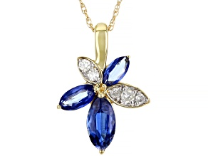 Blue Kyanite And White Diamond 14k Yellow Gold Flower Pendant With Chain 1.58ctw