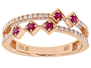 Ruby And White Diamond 14k Rose Gold Band Ring 0.38ctw
