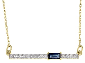 Blue Sapphire And White Diamond 14k Yellow Gold Bar Necklace 0.29ctw