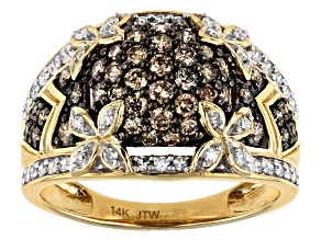 Champagne And White Diamond 14k Yellow Gold Cluster Ring 1.00ctw
