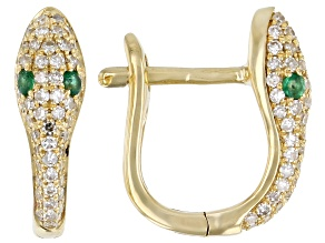 White Diamond With Green Emerald Accents 14K Yellow Gold Snake Earrings 0.37ctw
