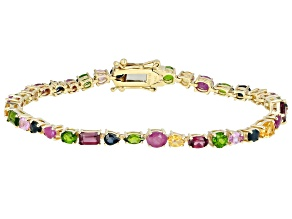 Sapphire, Chrome Diopside, Ruby, Rhodolite And Citrine 14k Yellow Gold Tennis Bracelet 7.25ctw