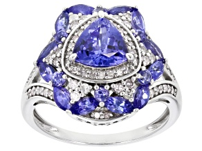 Blue Tanzanite And White Diamond 14k White Gold Center Design Ring 2.54ctw