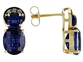 Blue Kyanite With Champagne Diamond Accents 14k Yellow Gold Drop Earrings 4.98ctw