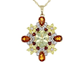 Yellow Apatite, Madeira Citrine, Sapphire, Red Garnet, Diamond 14k Yellow Gold Pendant 4.99ctw