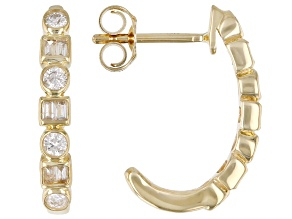 White Diamond 14k Yellow Gold J-Hoop Earrings 0.33ctw