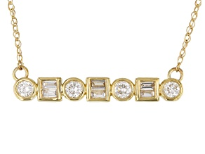 White Diamond 14k Yellow Gold Bar Necklace 0.25ctw