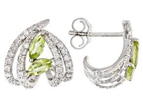 White Diamond & Green Peridot 14k White Gold J-Hoop Earrings 0.98ctw