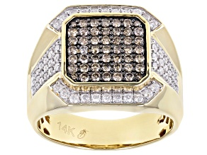 Champagne And White Diamond 14k Yellow Gold Men's Ring 1.00ctw