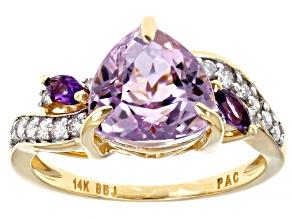 Pink Kunzite, African Amethyst & White Diamond 14k Yellow Gold Center Design Ring 3.08ctw