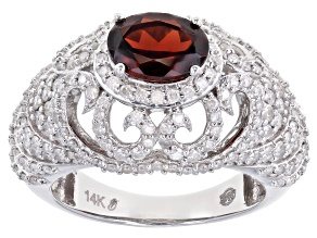 Red Garnet And White Diamond 14k White Gold Dome Ring 2.83ctw