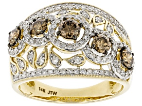 Champagne And White Diamond 14k Yellow Gold Wide Band Ring 1.50ctw
