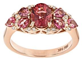 Pink Tourmaline And White Diamond 14k Rose Gold Center Design Ring 1.86ctw