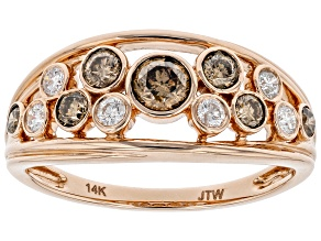Champagne And White Diamond 14k Rose Gold Wide Band Ring 0.75ctw