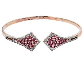 Rhodolite Garnet And White Diamond 14k Rose Gold Cuff Bracelet 2.88ctw