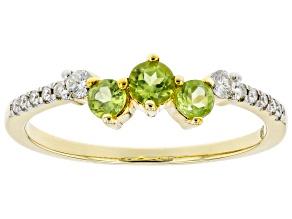 Green Peridot and White Diamond 14k Yellow Gold 3-Stone Ring 0.53