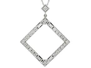 White Diamond 14K White Gold Pendant With Chain 0.60ctw