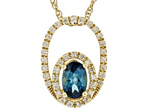 Indicolite Blue Tourmaline And White Diamond 14K Yellow Gold Pendant With 18 Inch Rope Chain 0.75ctw